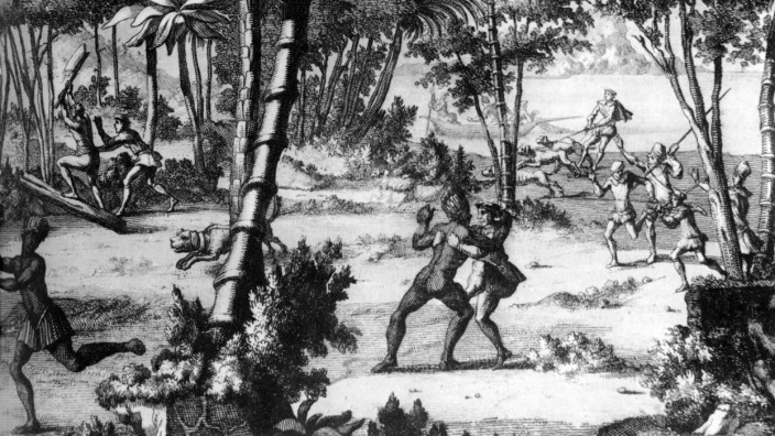 Africa: European slave traders attack and capture victims in Africa.