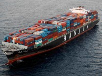 File photo of a Hanjin Shipping Co ship is seen stranded outside the Port of Long Beach