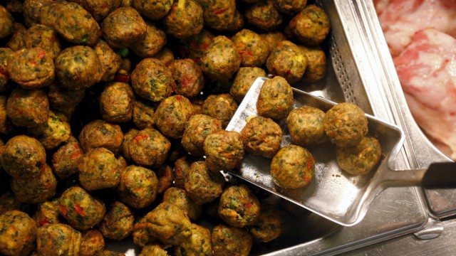 New 'Veggie balls' or vegetarian balls are pictured during its official launch at a IKEA store in Brussels