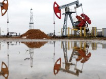 GOMEL REGION BELARUS JANUARY 14 2015 Oil rigs at a new oil deposit in Gomel Region operated by B