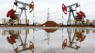 GOMEL REGION BELARUS JANUARY 14 2015 Oil rigs at a new oil deposit in Gomel Region operated by B