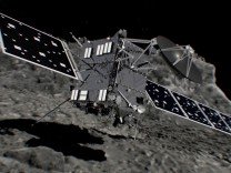 Artist's impression of Rosetta spacecraft shortly before hitting Comet 67P/Churyumov-Gerasimenko