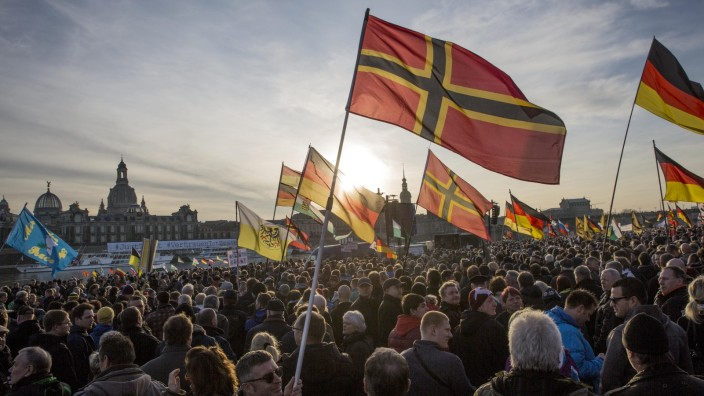 PEGIDA supporters stage protest in Germany's Dresden