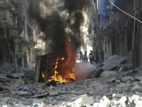 Kriegsszene in Aleppo im Norden Syriens