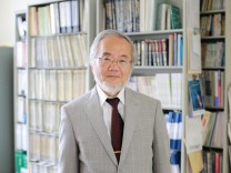 Ohsumi, a professor in Tokyo Institute of Technology is seen at his laboratory office in Yokohama