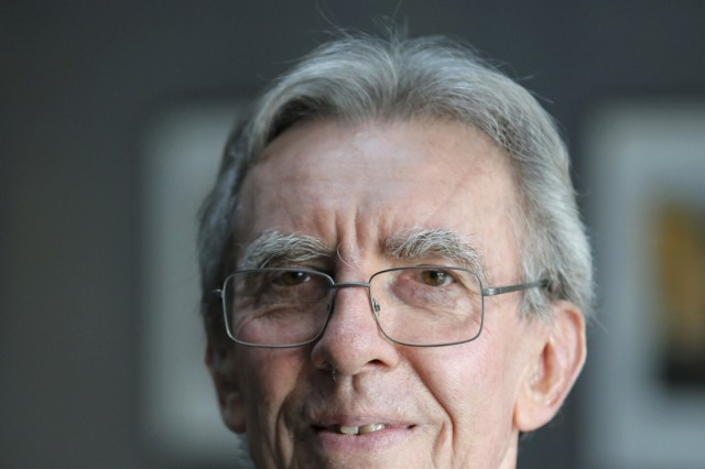 French scientist Jean-Pierre Sauvage, professor emeritus at the University of Strasbourg and director of research emeritus at France's National Center for Scientific Research, reacts at the University of Strasbourg,