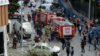 Firefighters and members of police special forces are seen at the blast scene in Istanbul