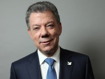 Colombian President Juan Manuel Santos poses for a portrait as he exits a Reuters Newsmaker conversation in Manhattan, New York, U.S.