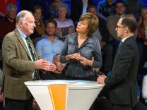 AfD-Vize Alexander Gauland, Gastgeberin Maybrit Illner und Justizminster Heiko Maas.