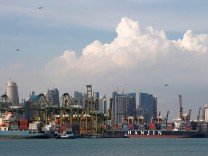 Hanjin Hungary and Hanjin Louisiana container ships are docked at PSA's Tanjong Pagar container terminal in Singapore