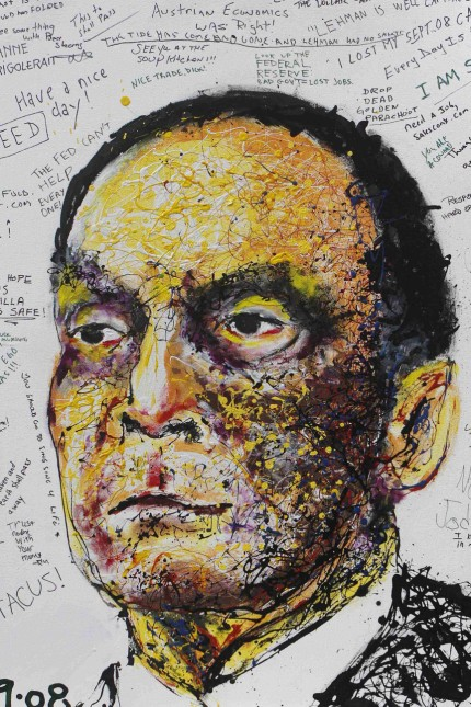 A portrait of Lehman Brothers Chief Executive Dick Fuld created by artist Geoffery Raymond is seen in New York