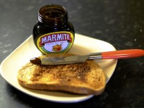Toast with Marmite sits on a kitchen counter in Manchester