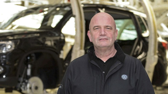 Osterloh, head of VW's works council, poses at the Volkswagen headquarters in Wolfsburg, file