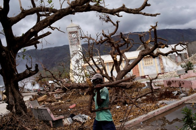A man carries branches from trees downed by Hurricane Matthew in Chardonnieres, Haiti