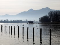 General view shows lake Chiemsee during early morning hours near Prien