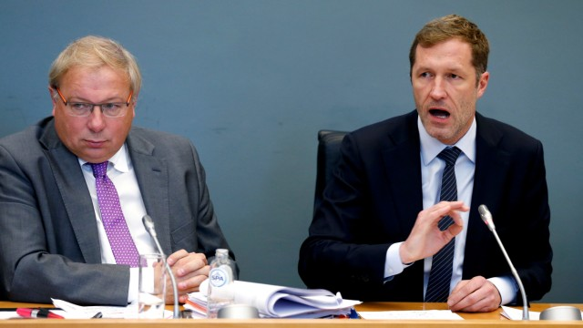 Minister-President of Wallonia Magnette answers deputies' questions during a debate on CETA at the Walloon regional parliament in Namur