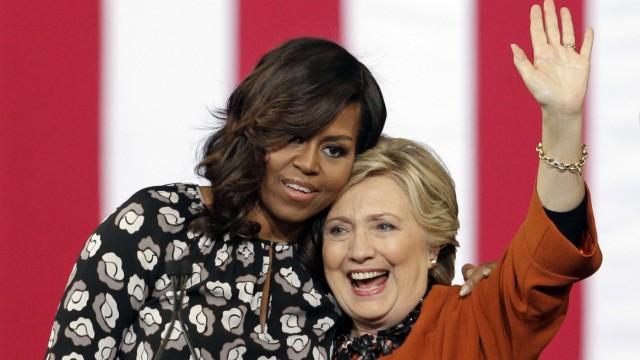 Michelle Obama und Hillary Clinton Wahlkampf 2016