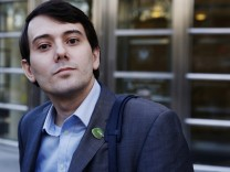 Martin Shkreli, former chief executive officer of Turing Pharmaceuticals and KaloBios Pharmaceuticals Inc, departs after a hearing at U.S. Federal Court in Brooklyn, New York