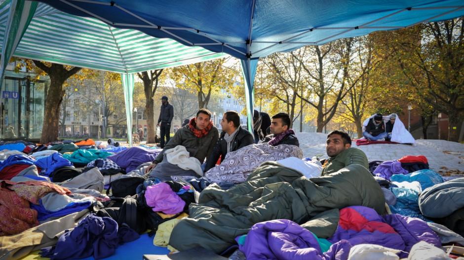Flüchtlinge in München Protest