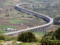 new modern highway Segesta village Sicily Italy new modern highway winding among green valley Se