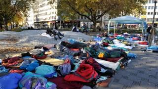 Protestlager von Flüchtlingen in München, 2016