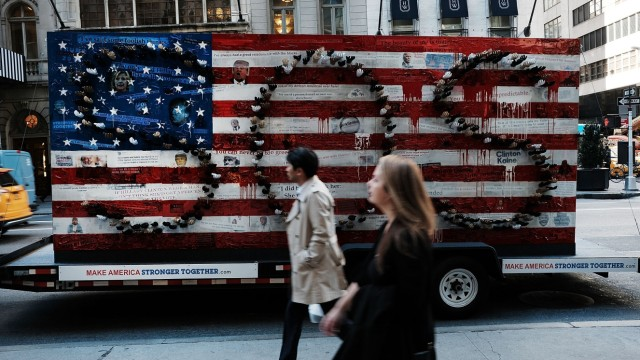 Artist Parades 'Make America Stronger' Election Themed Art Installation Around New York