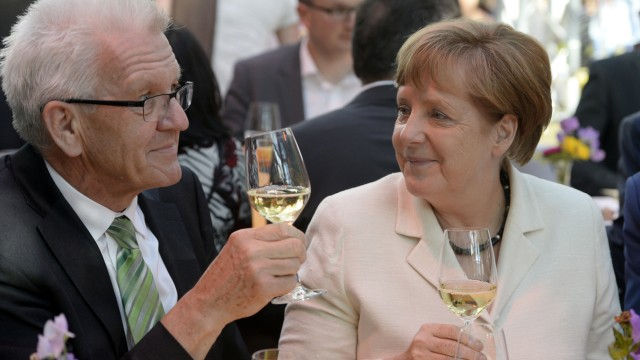 Winfried Kretschmann und Angela Merkel