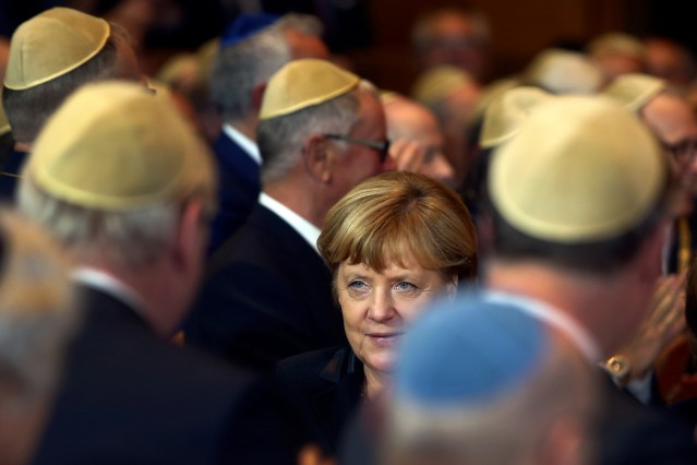 German Chancellor Angela Merkel arrive to receive the Ohel-Jakob award at the 10th anniversary of the Synagogue in Munich