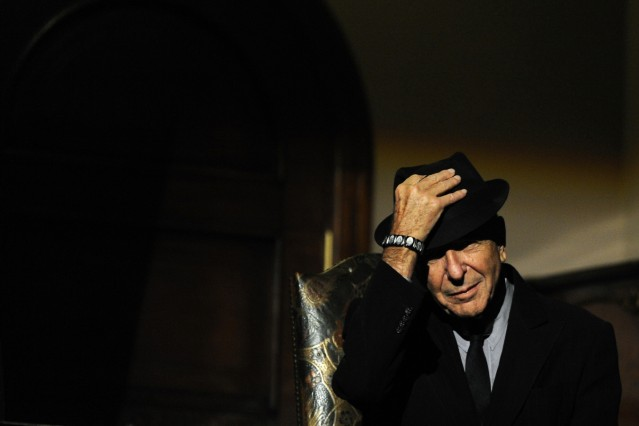 Canadian singer-songwriter Leonard Cohen is seen during a tribute in Gijon