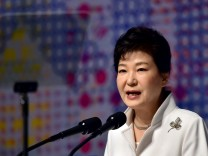 File picture of South Korean President Park delivering a speech in Seoul