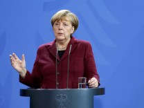 German Chancellor Merkel speaks during a joint news conference with Spain's Prime Minister Rajoy at the chancellery in Berlin
