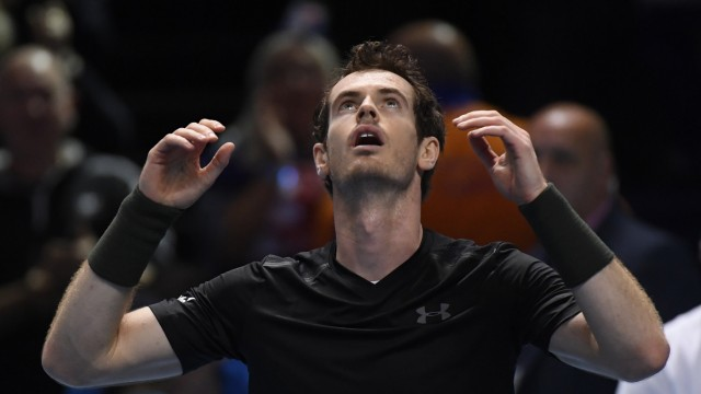 Great Britain's Andy Murray celebrates winning the final against Serbia's Novak Djokovic