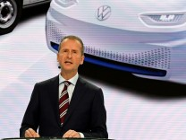 Volkswagen's brand chief Herbert Diess delivers his speech as Volkswagen presents a turnaround plan at a news conference in Wolfsburg