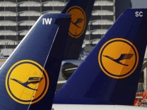 File picture of planes of the Lufthansa airline on the tarmac in Frankfurt airport