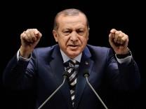 Turkish President Recep Tayyip Erdogan addresses at the meeting of War Veterans and Martyr Relatives