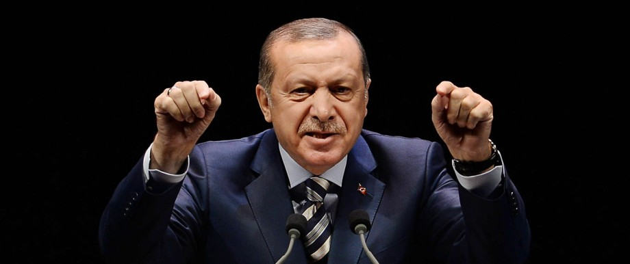Turkish President Recep Tayyip Erdogan addresses at the meeting of War Veterans and Martyr Relatives