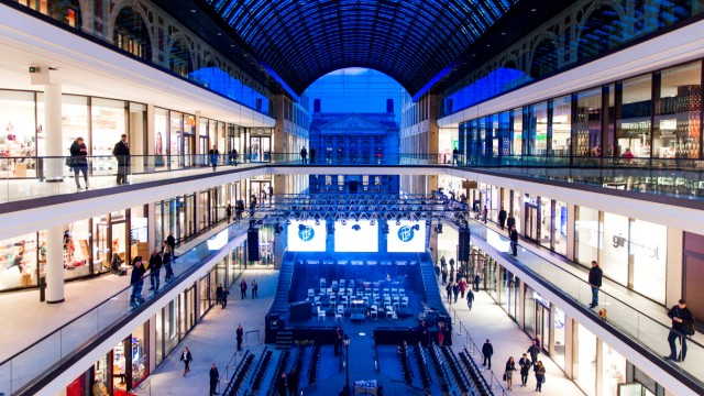 General view shows atrium of Mall of Berlin shopping centre during its opening night in Berlin