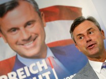 Austrian presidential candidate Hofer of the Freedom Party (FPOe) addresses a news conference ahead of a re-run of the run-off presidential election in Vienna