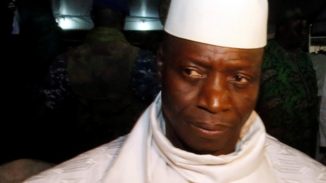 Gambia's President Yahya Jammeh, who is also a presidential candidate for the Alliance for Patriotic Reorientation and Construction (APRC) is seen during an interview aftera a rally in Banjul