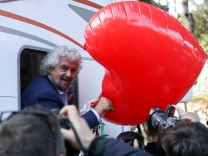 Beppe Grillo, the founder of the anti-establishment 5-Star Movement, arrives to attend a march in support of the 'No' vote in the upcoming constitutional reform referendum in Rome