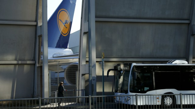 The tail of a Lufthansa plane is pictured during a pilots strike of the German airline at Frankfurt airport