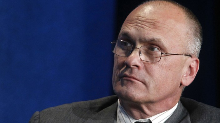 Puzder, CEO of CKE Restaurants, takes part in a panel discussion at the Milken Institute Global Conference in Beverly Hills