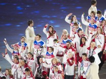 Feb 23 2014 Sochi RUS Russia s team enters Fisht Stadium during the parade of athletes at the