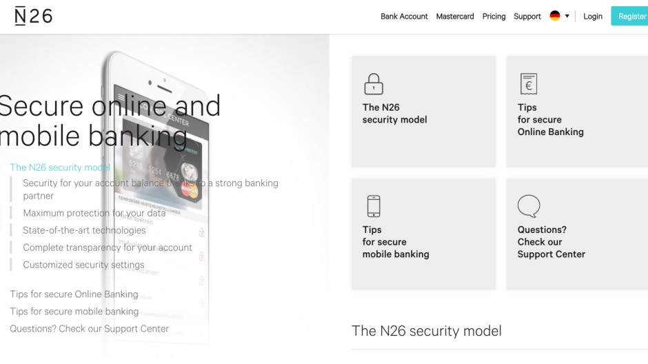 N26-Screenshot von der Security-Webseite