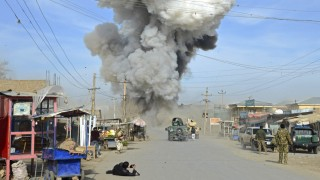 Smoke rises in the sky after a suicide car bomb attack in Kunduz