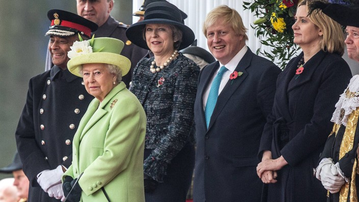 November 1 2016 London England UK The Queen stands with the Prime Minister Theresa May Forei