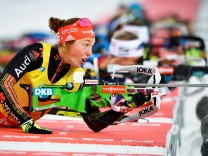 Laura Dahlmeier of Germany in action during the women's 10km pursuit during the Biathlon World Cup in Ostersund