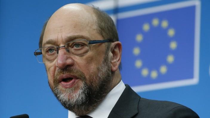 European Parliament President Martin Schulz news confrence