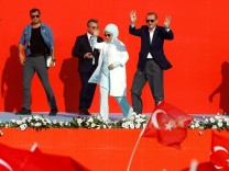 Turkish President Erdogan and his wife  Emine Erdogan attend Democracy and Martyrs Rally in Istanbul