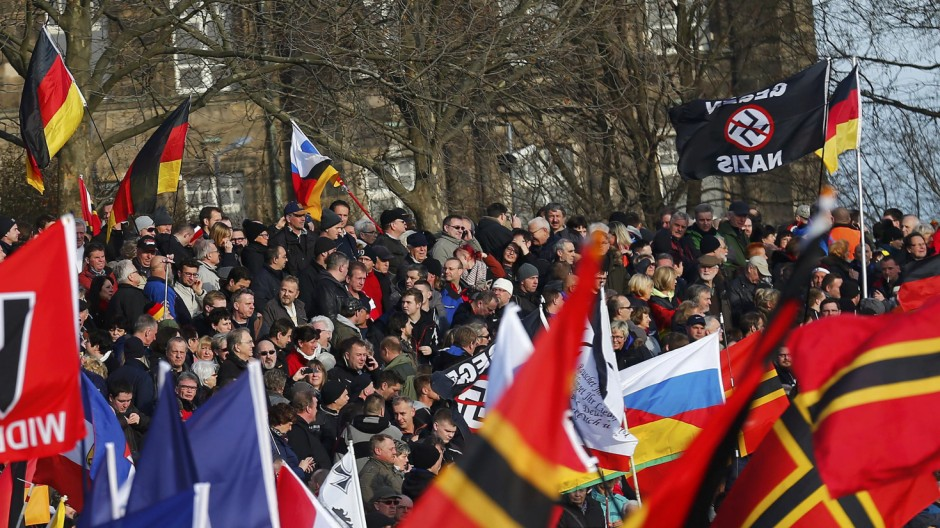 Supporters of the anti-Islam movement PEGIDA take part in a demonstration in Dresden